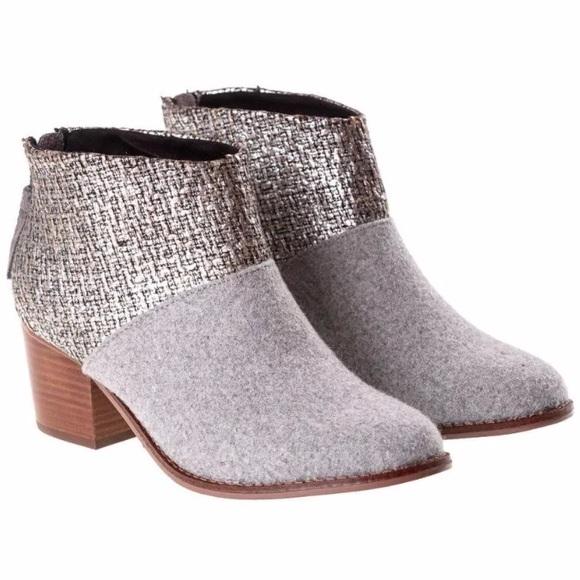7ed3915352ab TOMS Leila Grey Felt Metallic Heeled Ankle Boots